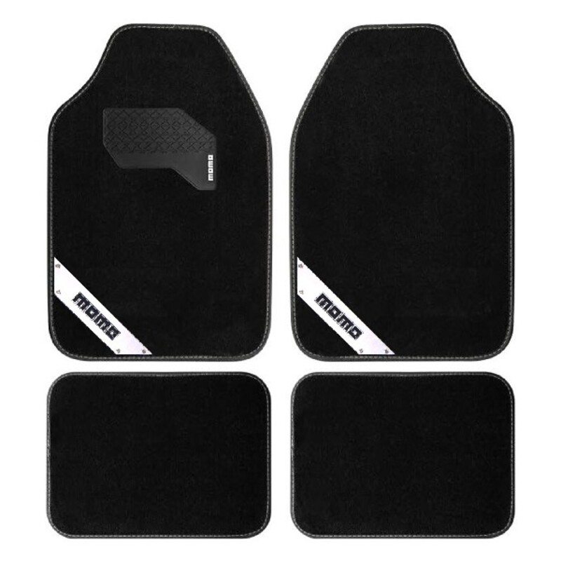 Car Floor Mat Momo MOMLCM012BW Universal Black White