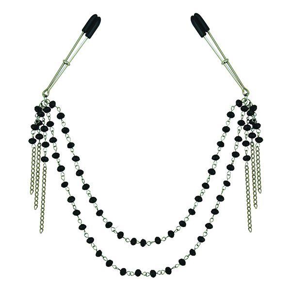 Midnight Black Jeweled Nipple Clips Sportsheets SS520-31