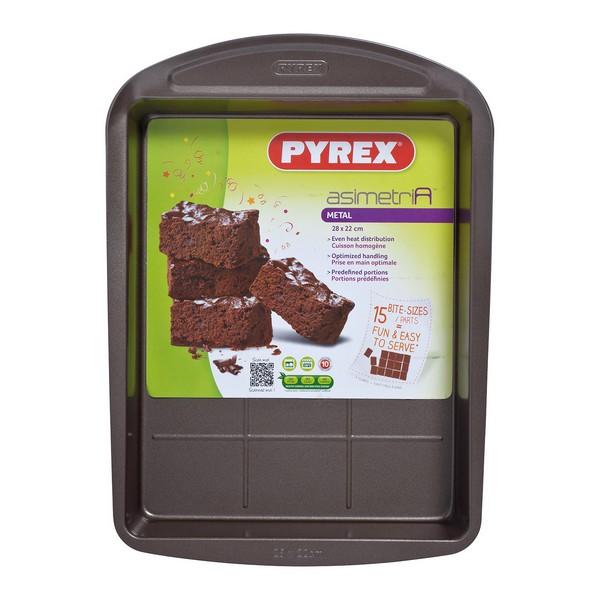 Baking tray Brownies Pyrex Asimetria Galvanised Steel (28 x 22 cm)