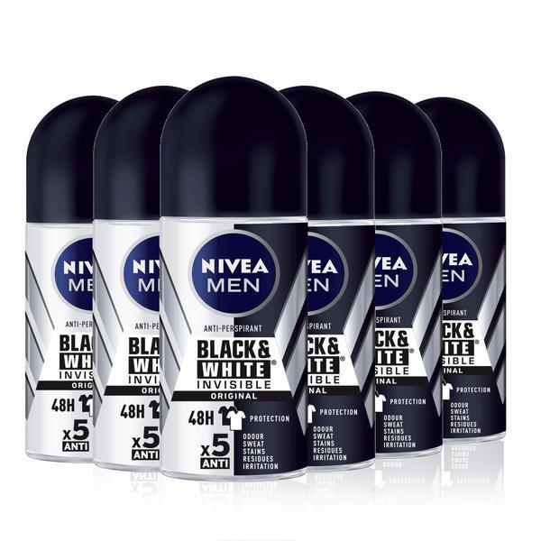 Roll-On Deodorant Black & White Invisible Original Nivea Men (6 x 50 ml) (Refurbished A+)