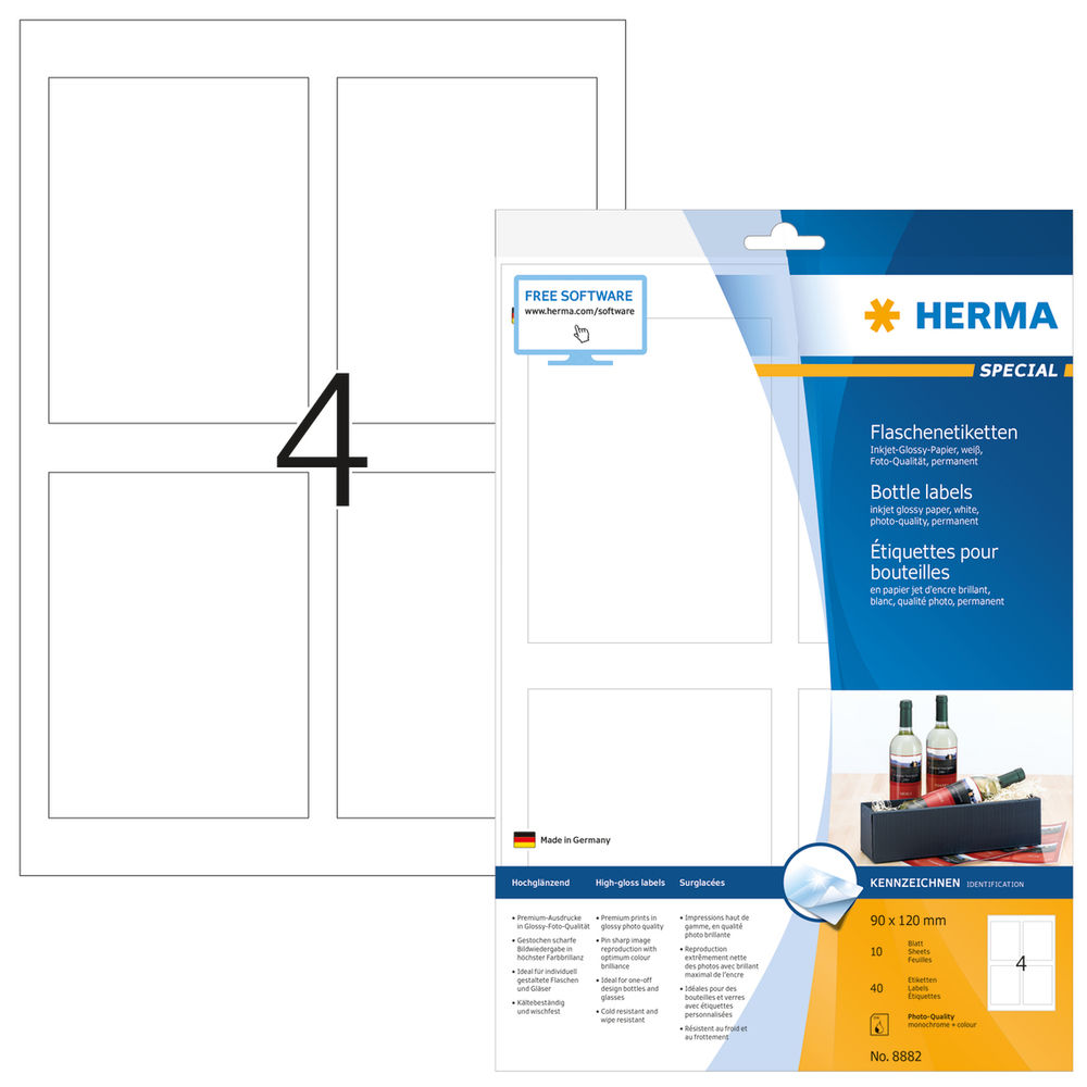 Adhesives/Labels HERMA White (90 x 120 mm) (Refurbished D)