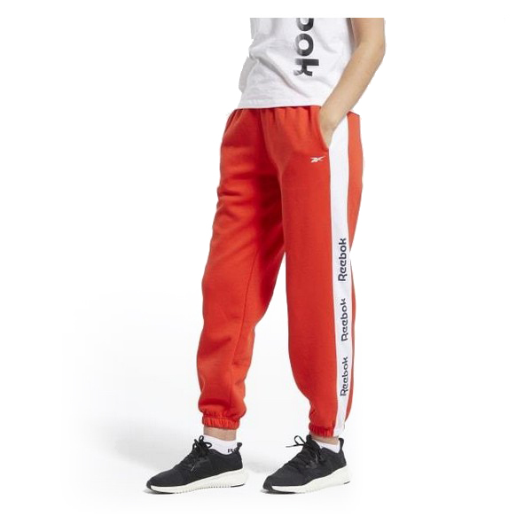 Adult's Tracksuit Bottoms Reebok Linear Logo FL Lady Red