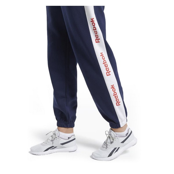 Adult's Tracksuit Bottoms Reebok Linear Logo FL Lady Navy Blue