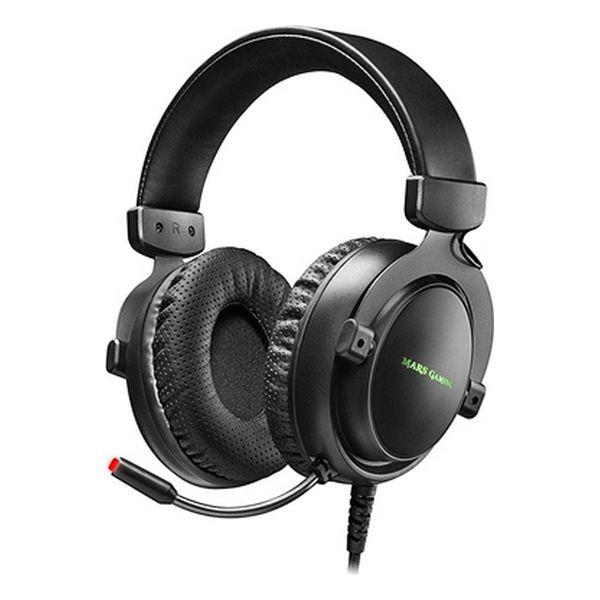 Slušalke z Mikrofonom Gaming Mars Gaming MH4X LED (2 m) Črna