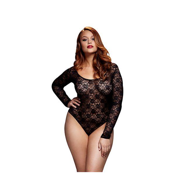 Black Lacy Bodysuit Back Cutout Queen Size Baci Lingerie BW3102