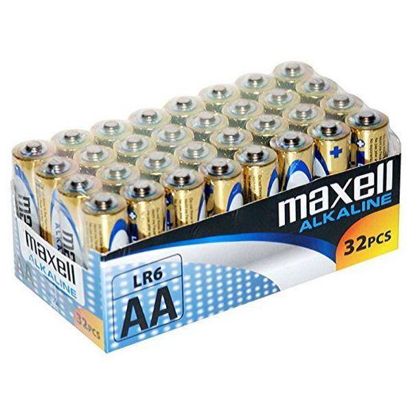 Alkaline Batteries Maxell MXBLR06P32 LR06 AA 1.5V (32 pcs)