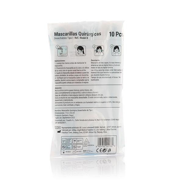 Mascarilla Quirúrgica Desechable de 3 Capas Tipo I Model B (Pack de 10) (1)