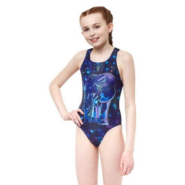 Child's Bathing Costume Ypsilanti Nellie Rave Blue Purple