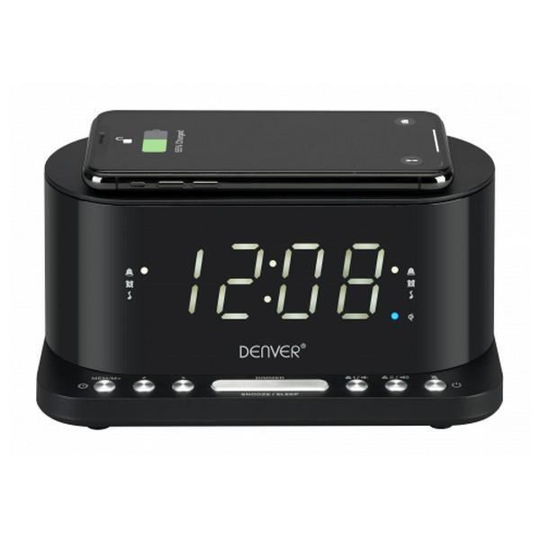 """Radio Despertador con Cargador Inalámbrico Denver Electronics CRQ-110 12"""" LED USB Negro"""