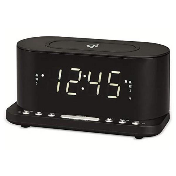 """Radio Despertador con Cargador Inalámbrico Denver Electronics CRQ-110 12"""" LED USB Negro (1)"""