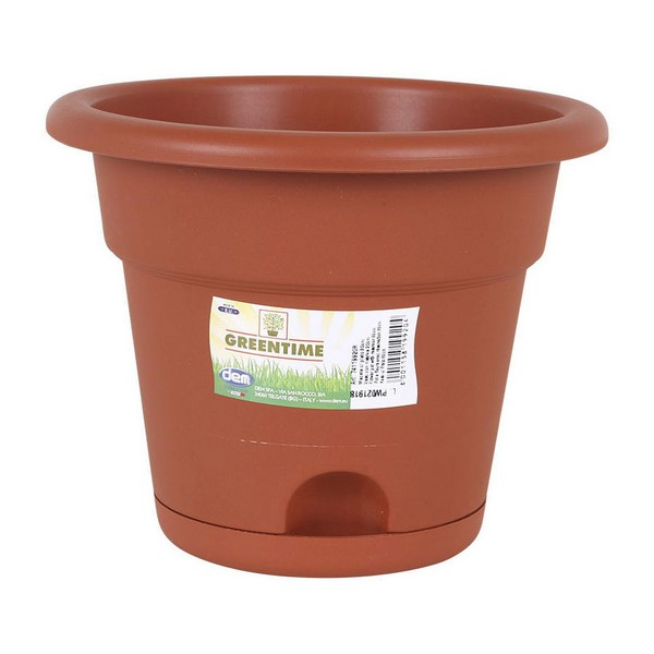 Flower Pot with Dish Resistant Brown
