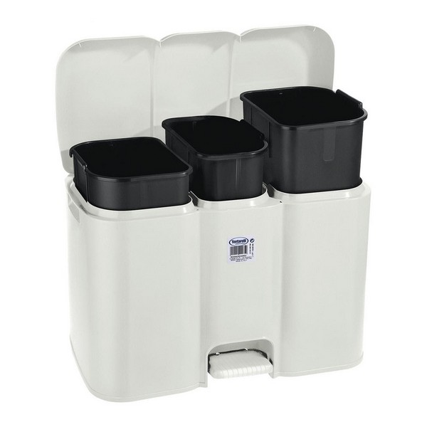 Pedal  Bin Parry Tontarelli 3 Compartments White 40 L (58,5 x 32 x 41,5 cm)