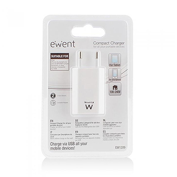 Cargador de Pared Ewent EW1209 1000 mAh Blanco (1)