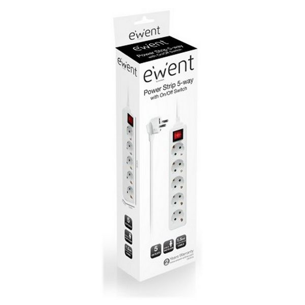 Power Socket - 5 sockets with Switch Ewent EW3916 Schuko White Computers Electronics