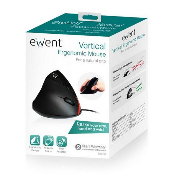 Ratón Ergonómico Óptico Ewent EW3156 1000 dpi USB Negro (3)