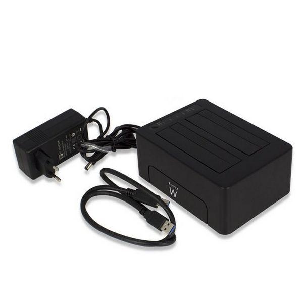 "Dual Dock Station Ewent EW7014 Dual 2.5""-3.5"" USB 3.1 ABS Black Computers Electronics"