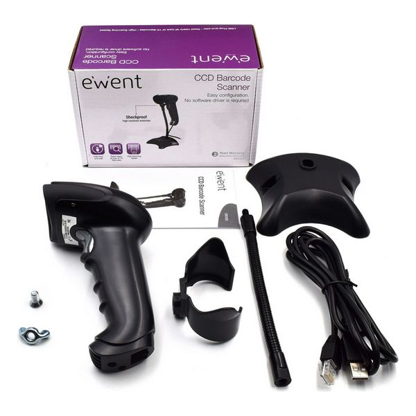 Barcode Reader with Support Ewent EW3420 LED USB Black