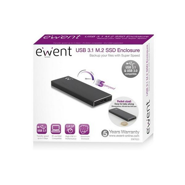 External Box Ewent EW7023 SSD M2 USB 3.1 Aluminium
