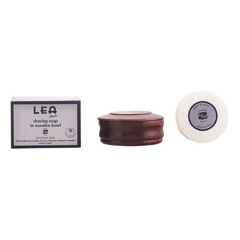 Shaving Soap in Wooden Bowl Classic Lea
