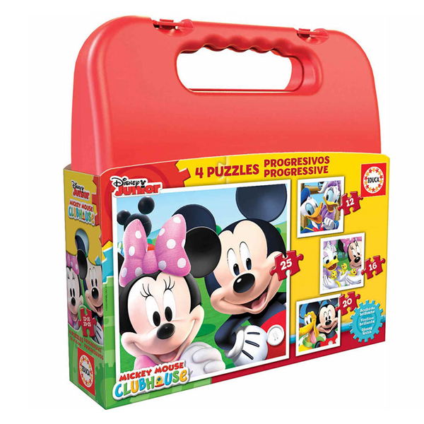 4-Puzzle Set Disney Mickey Mouse Progressive Educa (12-16-20-25 pcs)