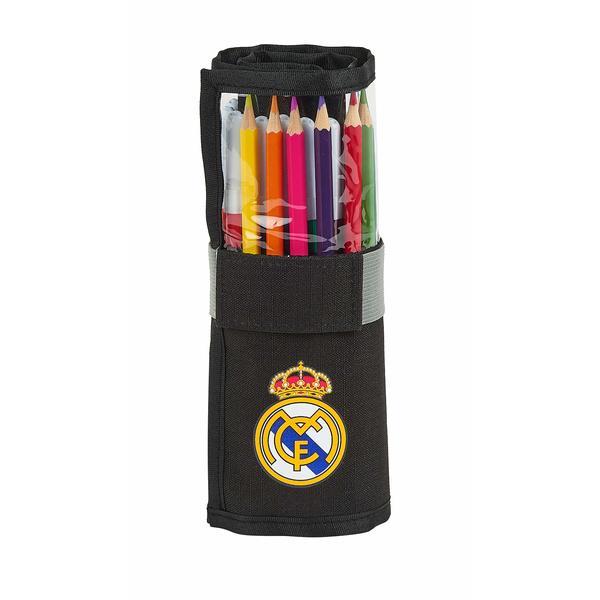 Double Pencil Case Real Madrid C.F. 1902 Black (27 Pieces)
