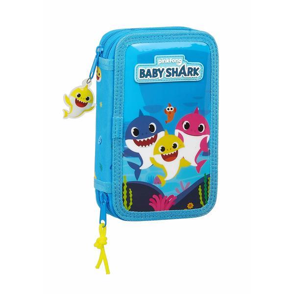Double Pencil Case Baby Shark Light Blue (28 pcs)