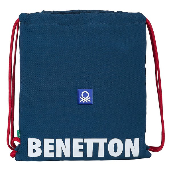 Backpack with Strings Benetton Navy Navy Blue