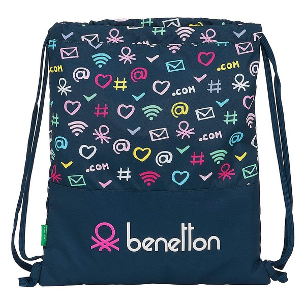 Backpack with Strings Benetton Dot Com Navy Blue