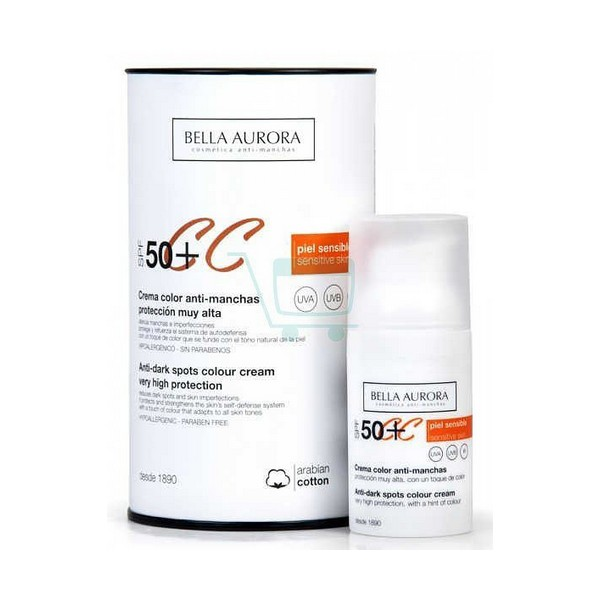 Anti Brown Spot Sun Cream Cc Protect Bella Aurora SPF 50 (30 ml)