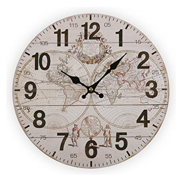Wall Clock World Wood (28 x 28 x 9 cm)