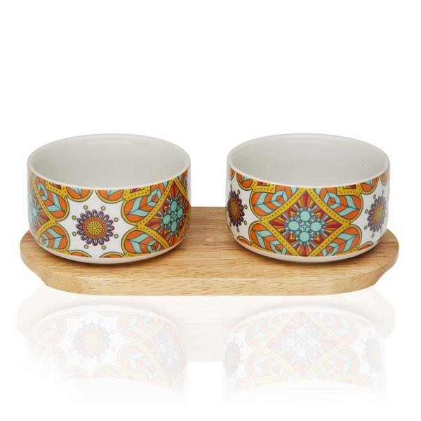 Appetizer Set Aubrey Bamboo Porcelain (2 Pieces)