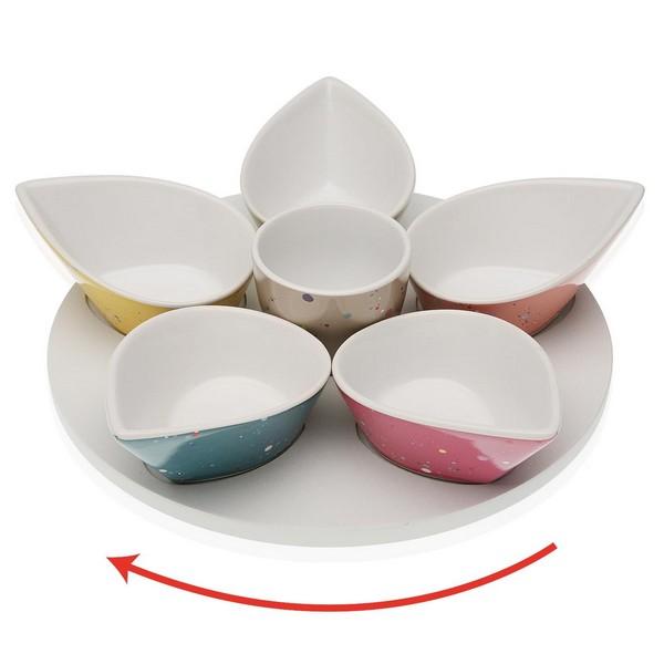 Appetizer Set Kayden (6 uds) Porcelain MDF Wood
