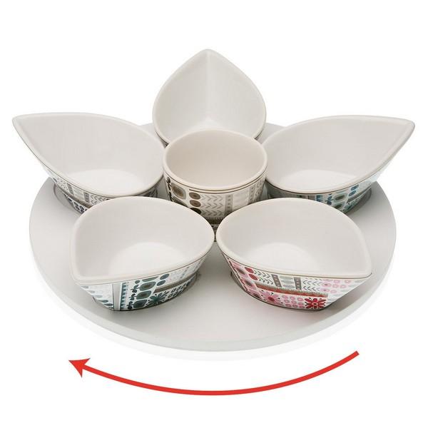 Appetizer Set Ayanda (6 uds) Porcelain MDF Wood