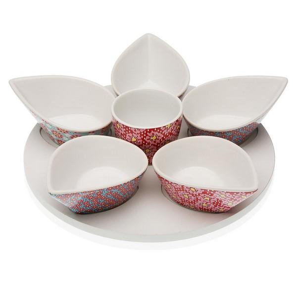 Appetizer Set Rozanne (6 uds) Porcelain MDF Wood