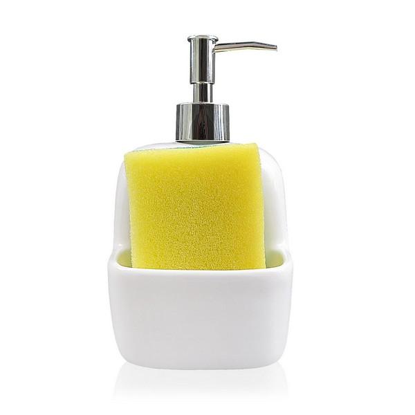 2-in-1 Soap Dispenser for the Kitchen Sink Ceramic (9,4 x 17,8 x 10,5 cm)