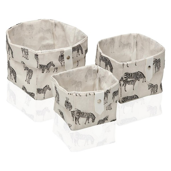 Basket set Textile Polyester Zebra (3 pcs)