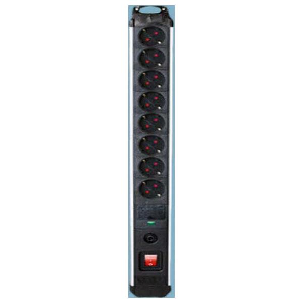 Regleta Enchufes 8 Tomas con Interruptor Silver Electronics 3680W Negro