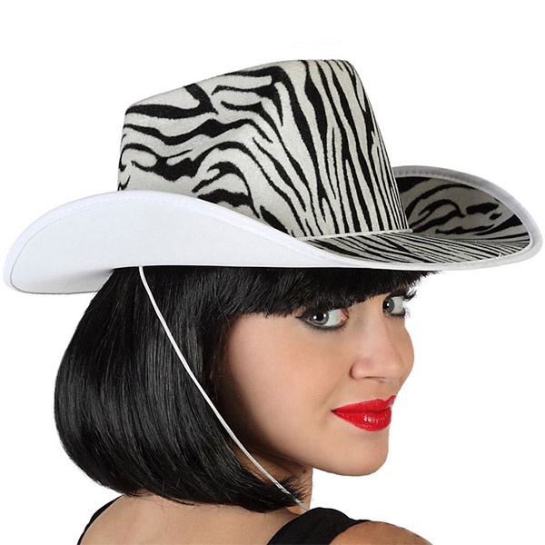 Cowboy Hat Zebra White Black 115204