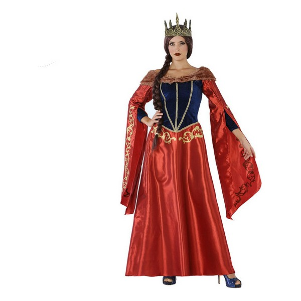Costume for Adults 113916 Medieval queen Red Navy blue