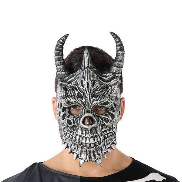 Mask Halloween Male demon Skeleton Grey (20 X 33 cm)
