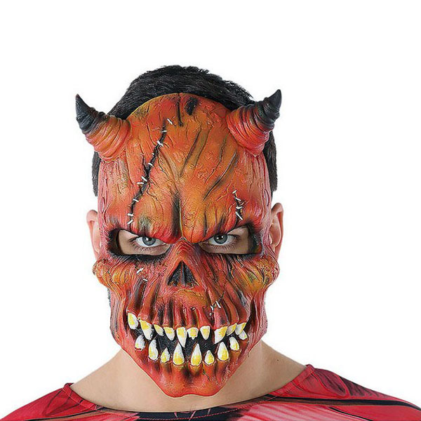Mask Halloween Male demon Skeleton Red (21 X 25 cm)