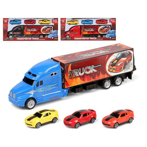 Camión Portavehículos y Coches (35 x 14 cm)