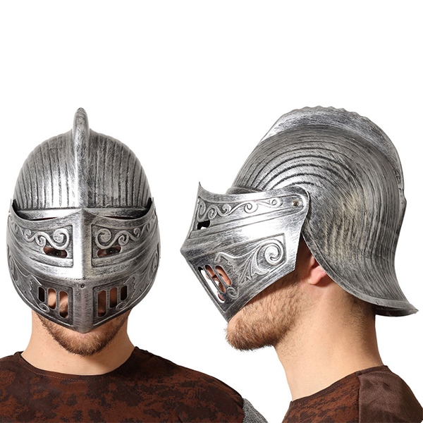 Casco Caballero medieval Plateado