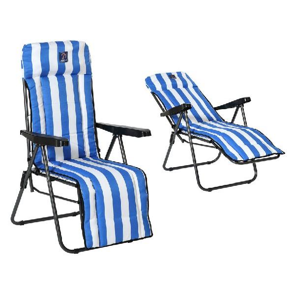 Beach sunbed Steel Blue / White (77 x 58 x 106 cm)