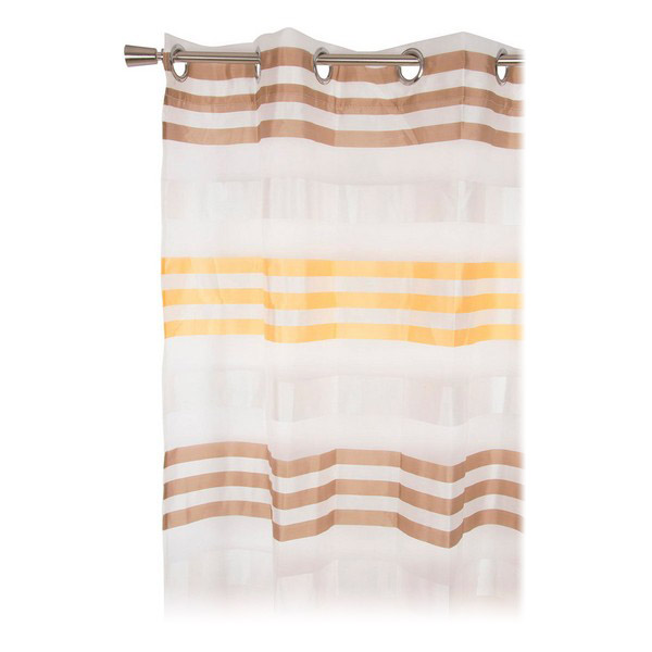 Curtain DKD Home Decor Striped Yellow Polyester (140 x 275 cm)