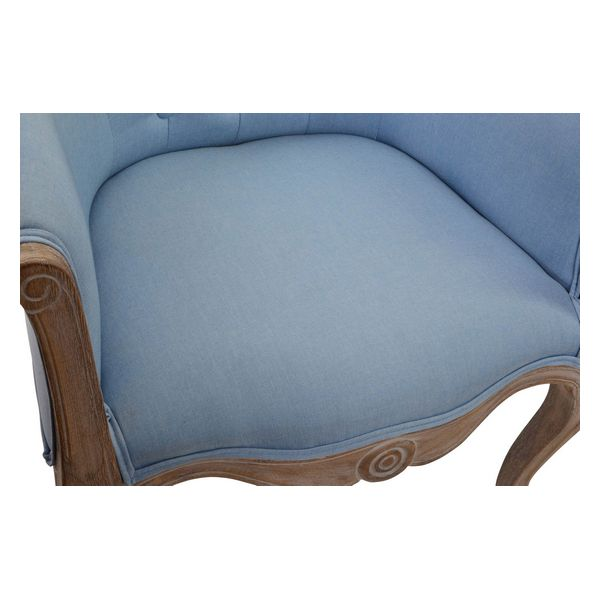 Armchair DKD Home Decor Blue Wood Polyester (58 x 56 x 69 cm)