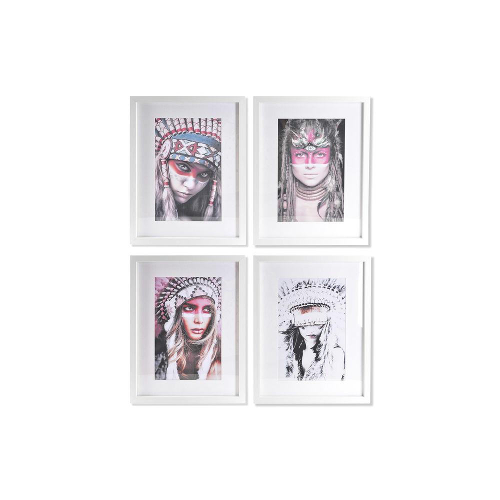 Acrylic Painting DKD Home Decor Boho Acrylic polystyrene (4 pcs) (35 x 2.5 x 45 cm)