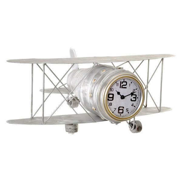 Table clock Dekodonia Metal Aeroplane MDF Wood (48 x 33 x 19 cm)