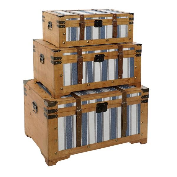 Chest DKD Home Decor Ruidan3 Poplar Stripes Canvas (3 pcs) (60 x 23 x 30 cm) (70 x 34 x 40 cm) (81 x 50 x 45 cm)