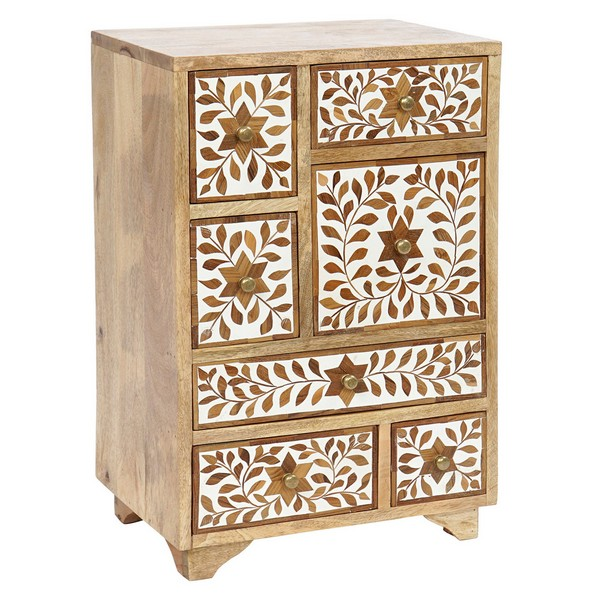Chest of drawers DKD Home Decor India Floral Resin Mango wood (42 x 30 x 66 cm)